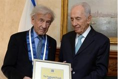 At emotional ceremony in NYC, President Shimon Peres presents noted Jewish leader and Holocaust survivor with Israel's highest civil medal. Ellie Wiesel, Shimon Peres, Human Dignity, Nobel Peace Prize, Lest We Forget, Persecution, Special People, Historical Photos