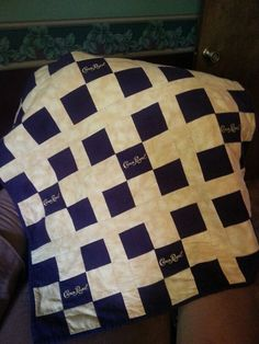 Crown Royal quilt in simple 9 square pattern.  Made this one for my dad. Takes a long time to save up all the bags