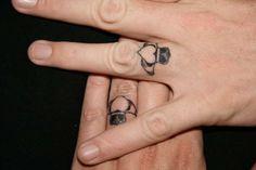 wedding ring tattoo designs Ring Finger Tattoos for Couples Couples Ring Tattoos, Ring Finger Tattoos, Couple Tattoos, Marriage Tattoos, Finger Tattoo Designs, Couples Tattoo Designs, Wedding Band Tattoo, Tattoo Band, Wedding Bands