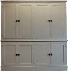 "eight door larder cupboard painted in Farrow & Ball ""String"""