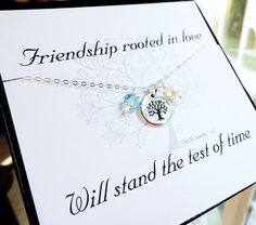 Items similar to Sterling silver Friendship necklace & message card, best friends birthstone necklace, tree of life, bridesmaid gifts, silver tree necklace on Etsy Birthstone List, Birthstone Necklace, Friendship Necklaces, Personalized Bridesmaid Gifts, Friend Necklaces, Tree Necklace, Jewelry Show, June Birth Stone, Message Card