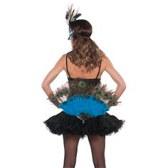 The Peacock Feather Fan and Tail Accessory can eclipse an enchantress, or attach securely to a daring derriere for a flight of feathered fancy. #peacock #featherfan #tail #costumeaccessory #accessoryavenue #Halloween
