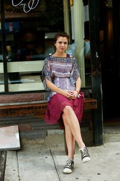 On the Street……Dekalb Ave., Fort Greene, Brooklyn « The Sartorialist Scott Schuman, Lace Skirt, Sequin Skirt, Sartorialist, Boho Tops, Style Fashion, Brooklyn, Personal Style, Converse