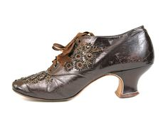 Perforated and Beaded Irrediscent Egg-Plant Colored Shoes, ca 1905.