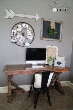 DIY Trestle Desk - Free Plans - Rogue Engineer - top for desk Furniture Projects, Furniture Plans, Home Projects, Diy Furniture, Do It Yourself Furniture, Simple Furniture, Rustic Desk, Rustic Computer Desk, Rustic Office Desk