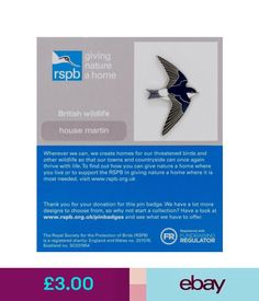 Collectable Badges Rspb Pin Badge | House Martin | Gnah Backing Card [01263] #ebay #Collectibles House Martin, Thrive Life, British Wildlife, Pin Badges, How To Find Out, Jewellery, Cards, Ebay, Jewels