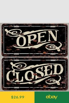 Open and Close Sign set Rust Vintage Auto License Plate Home Store Decor Vintage Signs, Vintage Cars, Open Close Sign, Vegetable Drawing, Closed Signs, Car License Plates, Decorative Signs, Wooden Signs, High Gloss