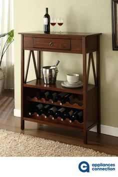 With the Linon Titan Wine Cabinet you display your favorite wines in style. This wine cabinet has a classic style inspired by Craftsman furniture. Wooden Wine Cabinet, Liquor Cabinet, Wine Storage Cabinets, Wine Cart, Wine Bottle Rack, Glass Bottle, Wine Racks, Beer Bottle, Dining Furniture