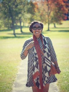 Lake George {Geometric Print Dress + Scarf}