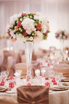 photographer: Portraits by Lucinda; Wedding reception centerpiece idea