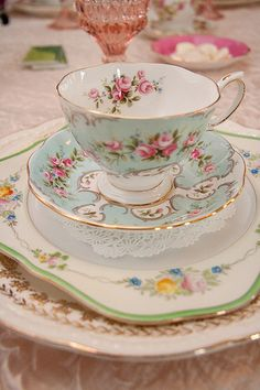 Vintage teacup, saucer, and plates