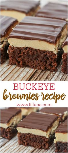 These Buckeye Brownies have 3 layers of goodness with a brownie base, a peanut butter fudge center and chocolate top. They're the perfect dessert for the chocolate and peanut butter lover.