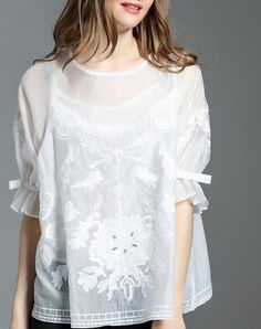 #AdoreWe #VIPme Co-Ords - multiflora White Floral Embroidered Ruffle Sleeve Blouse - AdoreWe.com
