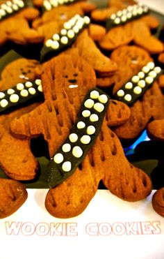 Wookie Cookies Star Wars Party. I'm making these next year instead of ginger bread cookies