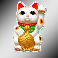 Lucky Cat Decal    With a Japanese origin, this little cat is said to bring luck, money and good fortune.. Also known as Maneki Neko, Good Fortune