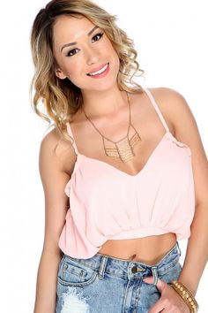 9b13b0443c Peach Sleeveless V Neck Elastic Banded Hem Crop Top. Biker Wear