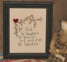 Framed Primitive Stitchery Be Kind Be by MockaMooseMarket on Etsy