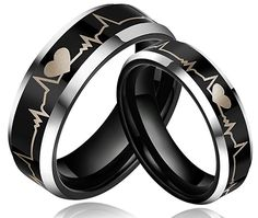 6mm Black Tungsten Metal Ring Forever Love Heartbeat Laser Engraved Comfort Fit Wedding Band (14)