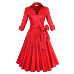Audrey Hepburn style vintage belt tunic big swing ball gown dress robe vestidos…