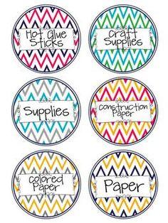 Chevron Classroom Supply Labels- Round