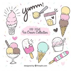 Free Ice Cream Graphics - Free Pretty Things For You - Kritzeleien - Yummy Eis Draw Ice Cream, Ice Cream Art, Ice Cream Theme, Cute Ice Cream Drawing, Ice Cream Sketch, Ice Cream Sign, Cute Food Drawings, Doodle Drawings, Easy Drawings