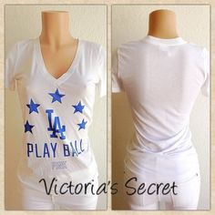 VICTORIA'S SECRET LA BASEBALL TEE Show your baseball support in this cute Victoria's Secret LA Tee... Great for game days and parties... Tag size S and true to size... If any questions or measurements lmk  Victoria's Secret Tops Tees - Short Sleeve