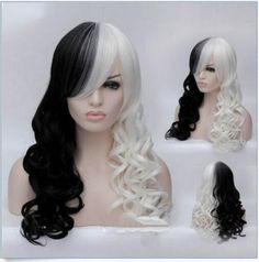 New-Hot-Women-Cruella-Deville-Cosplay-Wig-Black-White-Synthetic-Long-Curly-Wigs