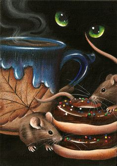Original Small Format Acrylic Painting Cat n Mouse by RRLeath, $40.00