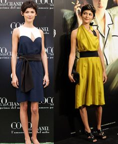 Love both dresses. The blue and white and white dress is Miu Miu while I'm not sure the designer for the yellow and black.