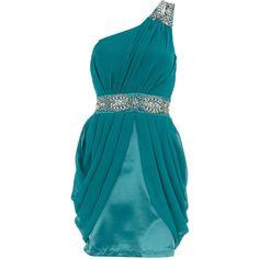 Green one shoulder dress ($17) ❤ liked on Polyvore featuring dresses, vestidos, blue, vestiti, short dresses, women, embellished cocktail dress, embellished dress, green cocktail dress and blue dress
