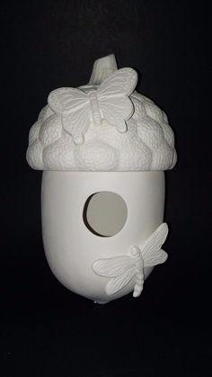 Ceramic Bisque ACORN BIRDHOUSE KP1004 & KP1003 #Unbranded