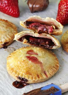 These Strawberry Nutella Hand Pies are a fun and easy way to eat pie! They are self contained, so you can just grab them and eat them.