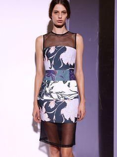 Shona Joy - Bodycon Dress With Mesh - Multi - Floral - Spring 14 $219.90