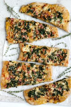 Pumpkin, pancetta and kale flatbread. We've rounded up 23 terrific pumpkin recipes you can make at home to satisfy your autumnal cravings. Get all the fall recipes here. Flatbread Recipes, Pizza Recipes, Dinner Recipes, Cooking Recipes, Veggie Recipes, Pumpkin Sauce, Pumpkin Puree, Pumpkin Lasagna, Thanksgiving Recipes
