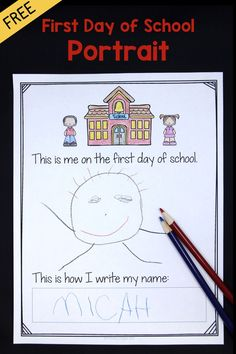 First Day of School FREEBIE! Students draw a self-portrait on the first day of school. Also includes a last day portrait page to show how they've grown. So much fun for preschool, kindergarten and first grade!
