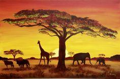 Excelente Petra Koob: Sonnenuntergang in Afrika - Bild auf Alu-Verbundplatte Wandbilder La. Petra Koob: Sonnenuntergang in Afrika - . African Animals, African Art, African Safari, Canvas Art Prints, Painting Prints, Canvas Fabric, Wall Canvas, Paintings, Safari Home Decor