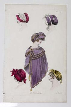 1809 Five Head Dresses and a Purple Cape. collections.museumoflondon.org