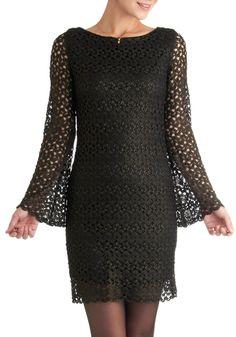 Shadow Dynamics Dress - Mid-length, Black, Crochet, Party, Sheath / Shift, Long Sleeve, Fall