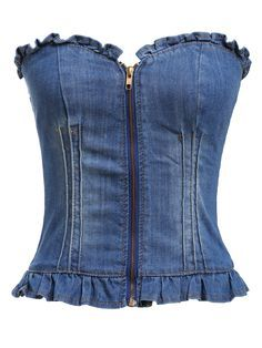Strapless Zipper Slim Denim Vest 11.17
