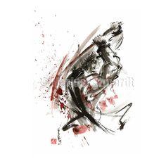 bushido code. Samurai sword - https://www.etsy.com/listing/197856560/print-samurai-sword-painting-with-sword? #samuraiart #samuraisword #japanesepainting #japaneseart #japanesesword #asianart