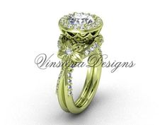 14kt yellow gold flower engagement ring VF301017
