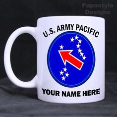US Army Pacific Personalized 11oz Coffee Mugs Made in the USA. #Handmade