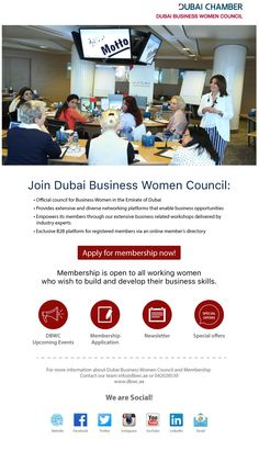 #Dubai #BusinessWomen #Council Join Dubai Business Women Council Official council for Business Woman in the #Emirate of Dubai Provides extensive and diverse #networking #platforms that enable business #opportunities #Empowers it's #members through our #extensive #business related workshops delivered by industry experts Exclusive B2B platform for registered members via an online member's directory  Apply for membership now: http://goo.gl/oVpx30