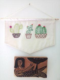 Bandeirinha Cactos - flâmula e xilogravura
