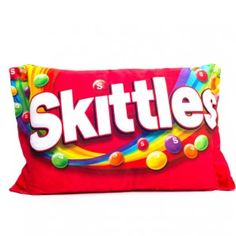 Big Skittles Pillow.  Would be these and other candy pillows would be fun to put in a Theater room.