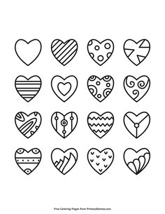 Free printable Valentine's Day coloring pages for use in your classroom and home from PrimaryGames. Heart Coloring Pages, Cute Coloring Pages, Adult Coloring Pages, Coloring Books, Kids Coloring, Free Coloring, Valentines Day Doodles, Valentines Day Drawing, Valentines Art