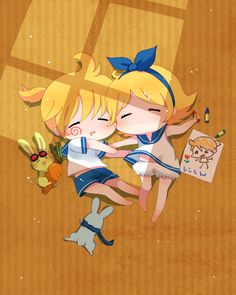 Sleeping Anime Chibi Vocaloid Twins
