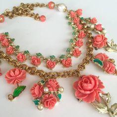 Vintage Charm Necklace  Rose Necklace Celluloid от rebecca3030