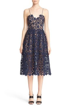 Free shipping and returns on Self-Portrait 'Azaelea' Lace Fit & Flare Dress at Nordstrom.com. Feminine lace flourishes on a fit-and-flare dress finished with a beautifully hand-cut, sheer hemline that shows off the intricate floral openwork. Ladder-stitched insets and barely-there straps add delicately feminine touches to the full, pleated silhouette.