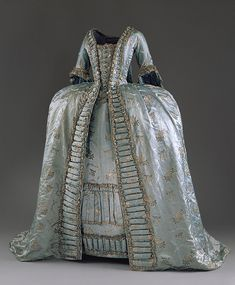 Robe à la française, ca. 1765,  French or Austrian,  Pale blue silk satin brocaded with silver